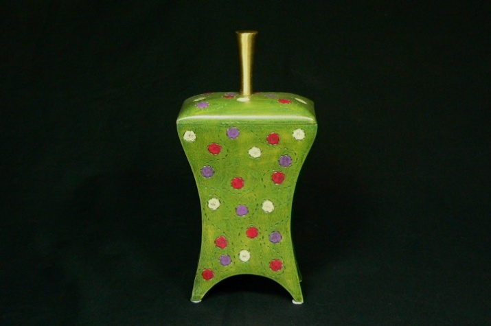 Box - Dots!!! Handcrafted wooden box (poplar), carved and painted. Dimensions 10'' x 5.5'' x 4''