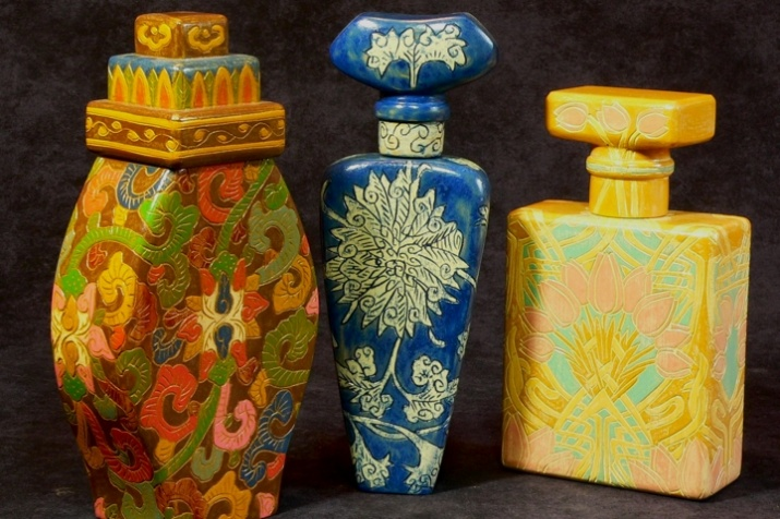 Collection of perfume 'bottles'. 9 to 11'' high.