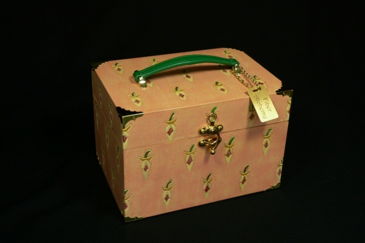 Collection of valises. Carved and painted with brass trimmings.